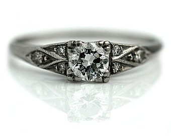 Art Deco Engagement Ring Antique 1920s Platinum Wedding Ring Vintage Dainty .40ctw Transitional Cut Diamond Engagement Ring Size 5!