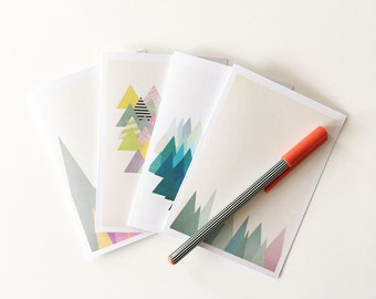 Christmas Card Pack, Blank Cards With Envelopes - Abstract Mountains