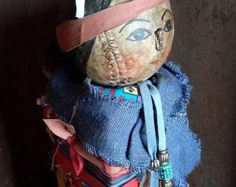 Prims magazine Primitive Native American Folk Art doll, Free Shipping, grungy Bedpost, reclaimed wood, softball