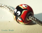 Handmade Lampwork Beads - Silver cored - Black Cat - Creeky Beads SRA