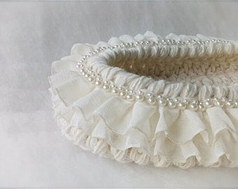 Precious White Newborn Basket Photo prop Baby cocoon nest photography prop Baptism white cocoon with pearls and double ruffles