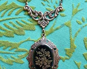 VALENTINES DAY SALE Forget Me Not // Vintage 1940s Glass Mourning Cameo Necklace, Antiqued Brass Frame & Filigree, Fine Brass Chain // Gold
