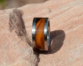 Bethlehem Olive Wood Band Titanium Wood Ring 10mm Mens or Ladies Wedding Bands Size 4 5 6 7 8 9 10 11 12 13 14 15 16 17 18 19 20 1/4 Sizes