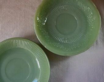 6 JADEITE PLATES Assorted Mid Century Green Jade Glass Plates Saucers Fire King Jadeite Glass Saucers Alice Pattern Scallop Edge Jadeite