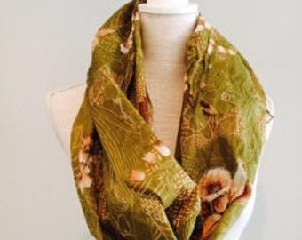Embellished Green Floral Cotton Scarf