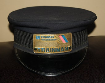 Vintage 1970s NJ Transit Rail Operations Trainman Hat with Badge; Railroad RR Collectible