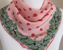 """Symphony // Small Pink Strawberries Collectible Silk Scarf  // 16"""" Inch 42cm Square"""
