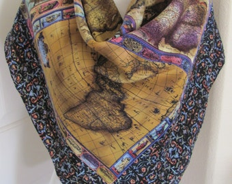 """Beautiful Dark Colors Antique World Map Silk Scarf  // 34"""" Inch 88cm Square // Best of the Best"""