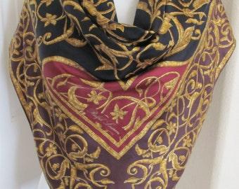 "Ralph Lauren // Black Burgundy Gold Silk Scarf // 35"" Inch 90cm square // Best of the Best"