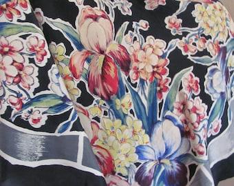 "Vintage Black Floral Large Soft Rayon Scarf  // 36"" Inc 92cm Square"
