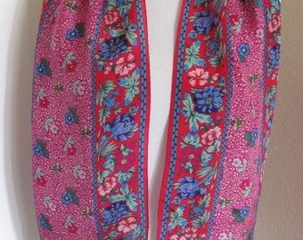 """Beautiful Red Floral Soft Silk Scarf // 10 x 52"""" Inch Long"""