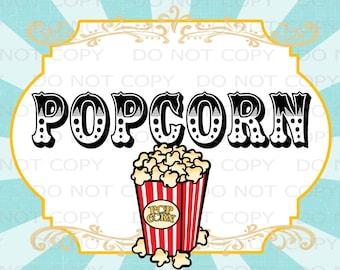 "Printable DIY Vintage Circus Popcorn Table sign - 8.5"" x 11"" INSTANT DOWNLOAD"