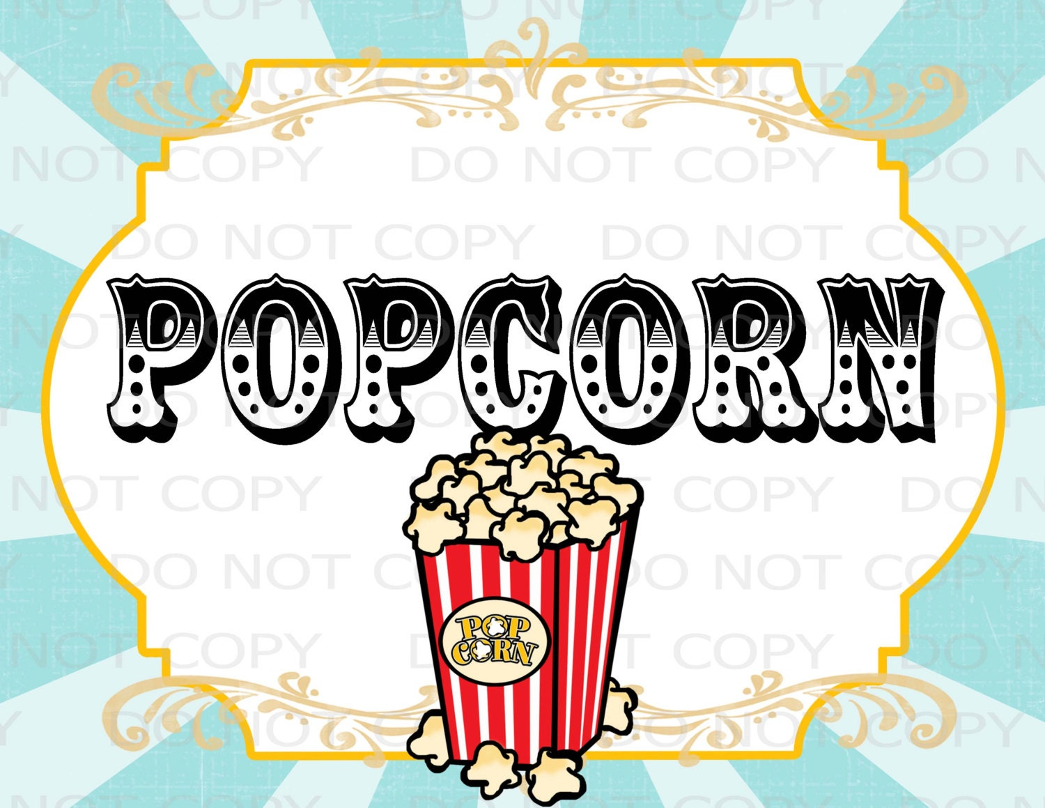 Slobbery image in popcorn sign printable