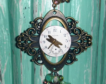 Dragonfly and Czech beads Vintage pocket watch face necklace