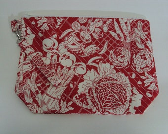 Medium Red Garden Zippered Project Bag #2