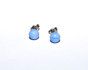 Sky Blue Handmade Stud Earrings UK Lampwork SRA