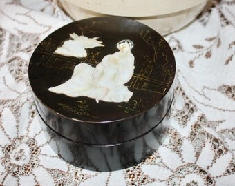 Box Round Black Lacquer with Mother of Pearl Vintage