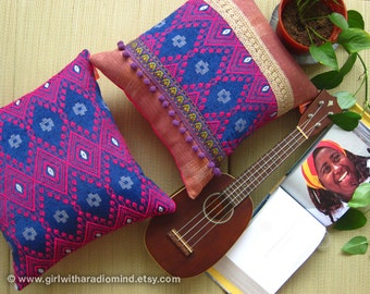 Bohemian Turkish Pillow Set of 2 Purple Pink - Gypsy Geometric Decorative Throw Pillows