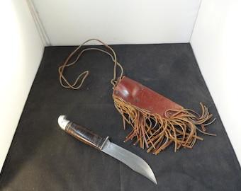 Estate Vintage Mid Century Western Fixed Blade Sheath Knife w Sheath
