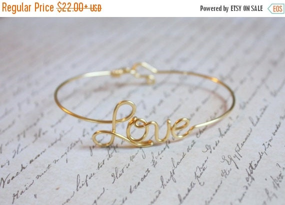 VALENTINES SALE Love Bangle - Sterling Silver, Yellow Gold Filled or Copper