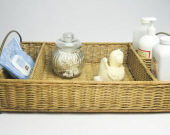 Wicker Silverware Caddy / Flatware Holder / Nursery Tray / Wicker Storage / Wicker Basket