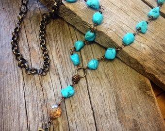 Long arrow necklace turquoise bohemian western boho chic hippie style jewelry organic Joellie boutique handmade gift beach girl country