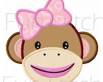 sock monkey girl applique machine embroidery design