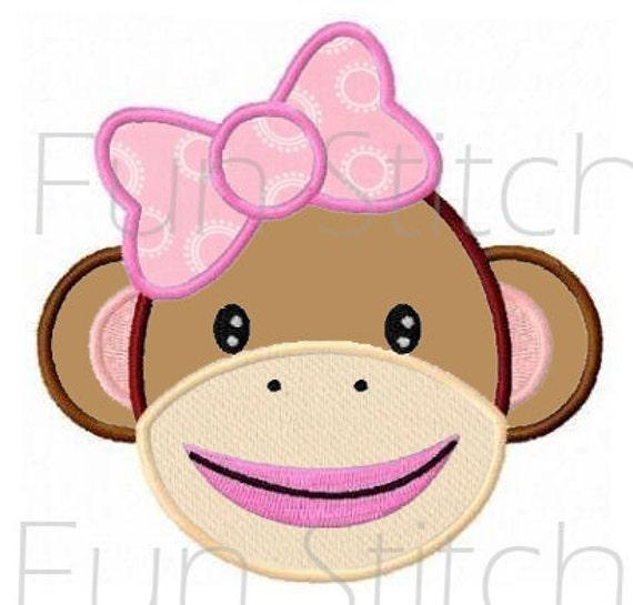 Sock Monkey Applique Machine Embroidery Design
