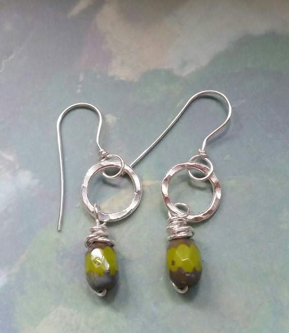 Silver earrings, small, circles,  simple, round, hammered, fused fine silver, 99.9% pure silver,  fused, olive green Czech stone