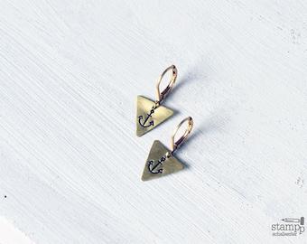ANCHOR triangle earrings // raw brass hook earrings // hand stamped jewelry