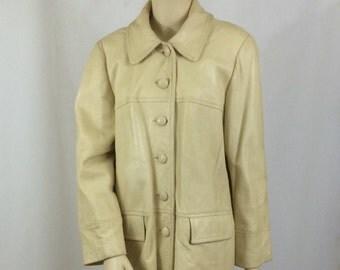 Vintage Leather Jacket / Beige Car Coat/  Ladies Large / Mod 1960's