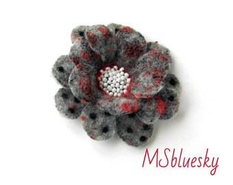 polka dots FLOWER Nuno Felted brooch - Ready to Ship Now - Gift under 50 USD