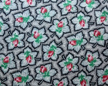 "1/2 yard Vintage cotton 1940s dress fabric exciting rose florals fabric pink green blue white pattern flower 35""  wide 1950 1940  dress"