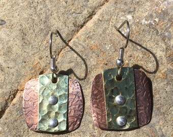 Copper and brass earrings - Free Shipping