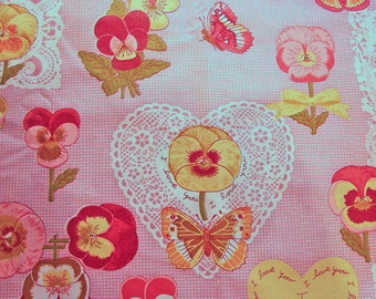Polished Cotton Fabric 1970s Gloria Vanderbilt Fabric Pink Pansy Fabric Gingham Lace Valentine Heart Butterfly Fabric by the yard