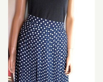 Fabulous Rock A Billy Swing  Pleated Lined  Navy Polka Dot Rayon Skirt Circa 1970s From New York Classics. MINT