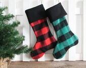 Christmas Stocking Wool Buffalo Check Red or Green & Black Lumberjack