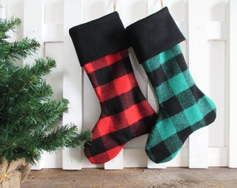 Christmas Stocking Wool Buffalo Check Red or Green & Black Lumberjack