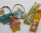 5 Cute as a Button Vintage 1930s Party Favors...Candy Holders...Crepe Paper