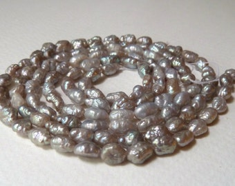 SALE - Gray Rice Krispie Freshwater Pearls, Organic, Crinkly, Bumpy Vintage Appeal, Qty 8 full strands - GREAT PRICE (sgplotg1)