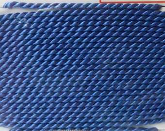 Blue Silk Beading Cord, Size 1, Needle Attached, Griffin Pure Silk Thread