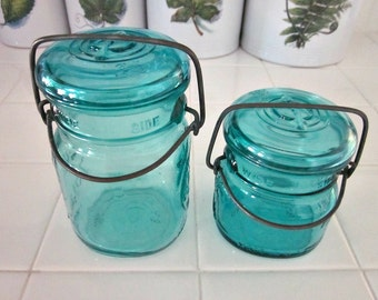 Vintage TWO Ball Ideal Wire Side Bicentennial Canning Jars, 1 Half Pint and 1 Pint Size - Country Kitchen - Collectable - Aqua  Canning Jars