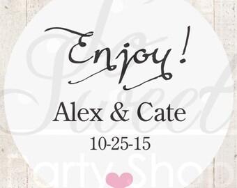 Baby Shower Favor Stickers (Enjoy) - Wedding Thank You Stickers - Favor Sticker Labels - Bridal Shower - Birthday Favor Stickers - Set of 24