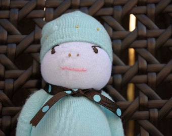 Small Plump Sock Doll dressed in Blue