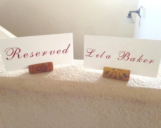 Custom 5 by 2.5 inch placecards, with or without place card holders, vineyard wedding, wine, wine corks, wine wedding, custom plaecards