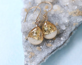 white and gold leaf teardrop earrings on 14 karat gold fill ear wires