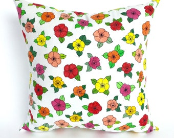 Tropical Throw Pillow, Hand Painted Pillows, Colorful Flower Pillow, Colorful Pillows, Carribbean Home Decor, Pillow with Flowers