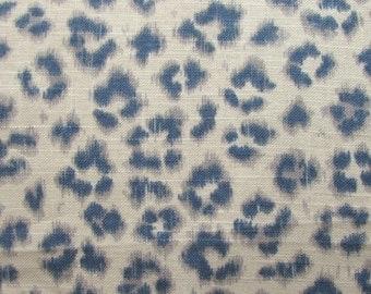 CHEETAH Print  Linen denim on cream, designer multipurpose fabric