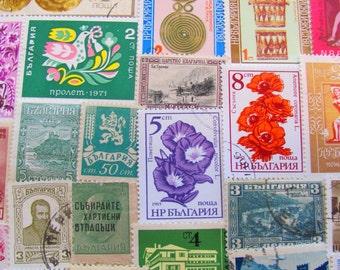 Beauties of the Black Sea 50 Vintage Bulgarian Postage Stamps Republika Bulgaria Sofia Eastern Europe Scrapbooking Worldwide Philately