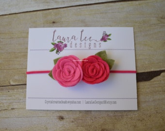 READY TO SHIP, Shades of Pink, Bright Pink and Hot Pink Felt Flower Headband, Newborn, Smash Cake, First Birthday, Sitter, Floral Crown